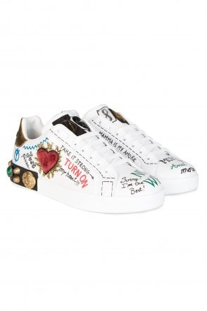 Dolce & Gabbana Embellished Printed Sneakers