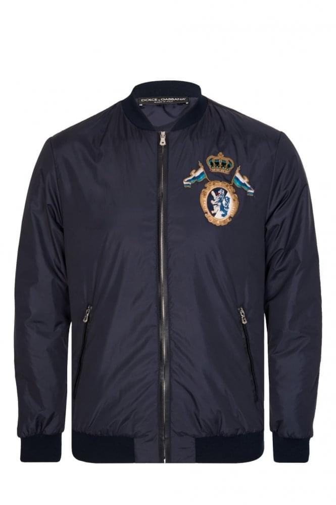 Dolce & Gabbana Embroidered Chest Detail Bomber Jacket Navy