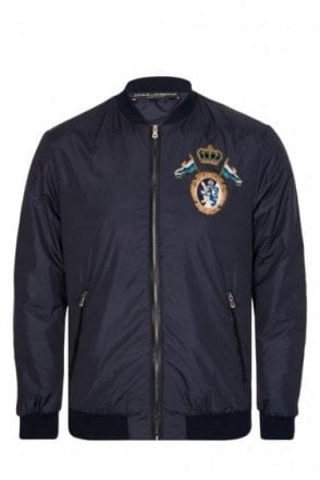 Dolce & Gabbana Embroidered Chest Detail Bomber Jacket Navy