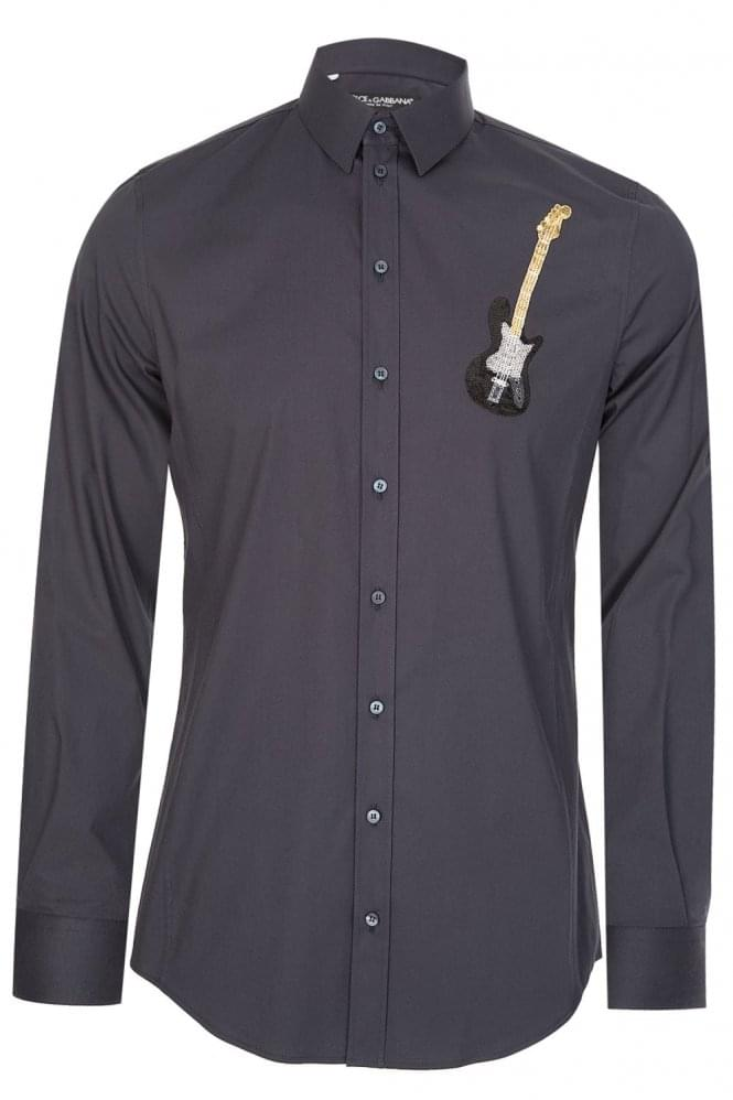 DOLCE & GABBANA Guitar Applique Shirt Navy
