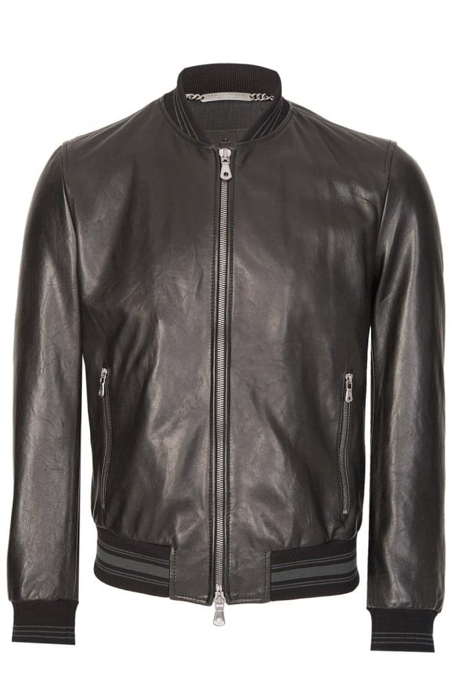 DOLCE & GABBANA Leather Bomber Jacket Black