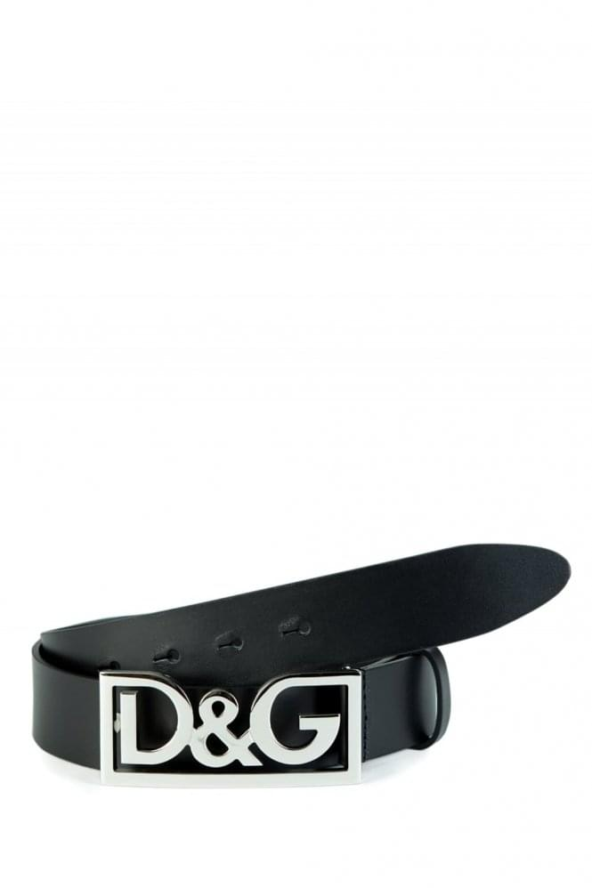 DOLCE & GABBANA Logo Buckle Belt Black