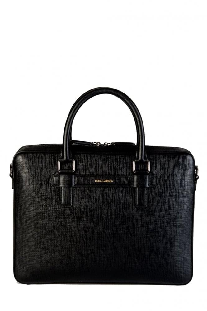 DOLCE & GABBANA Mediterraneo Leather Laptop Bag Black