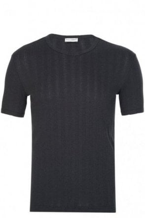 Dolce & Gabbana Mixed Fabric + Logo T-Shirt Black