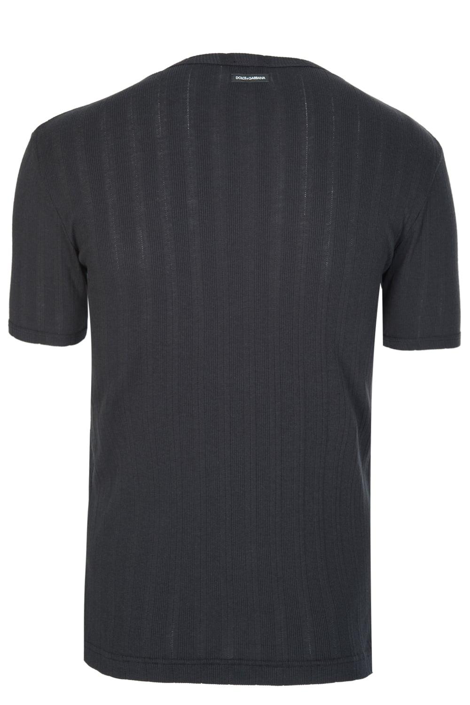 dolce gabbana mixed fabric logo t shirt black. Black Bedroom Furniture Sets. Home Design Ideas