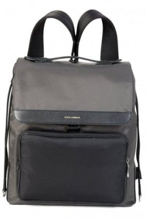 Dolce & Gabbana Mixed Material Backpack Grey