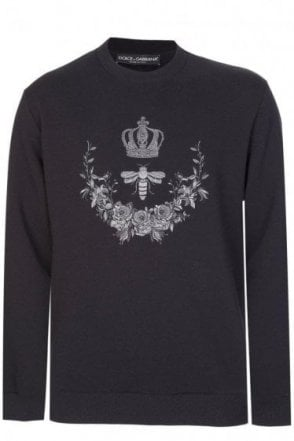Dolce & Gabbana Oversized Bee & Crown Sweatshirt Black