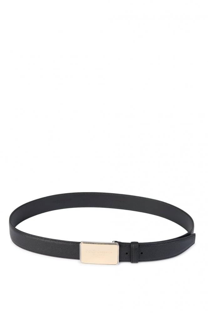 DOLCE & GABBANA Plaque Logo Buckle Belt Black