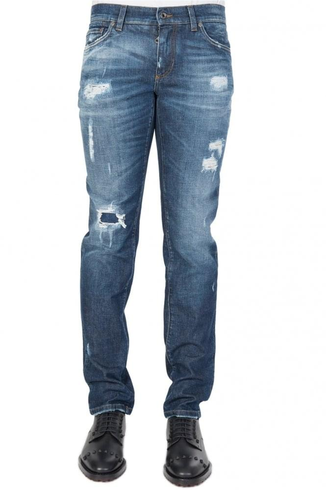 DOLCE & GABBANA Plaque Logo Distressed Denim Jeans