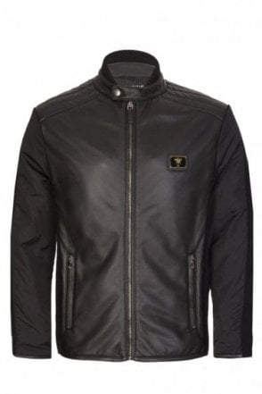 Dolce & Gabbana Plaque Logo Leather Biker Jacket