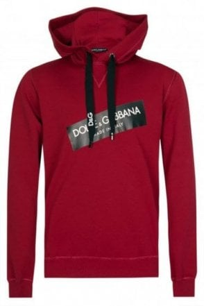Dolce & Gabbana Tape Logo Hooded Sweatshirt Red