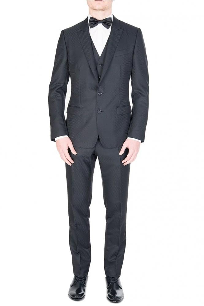 DOLCE & GABBANA Three Piece Jacquard Evening Suit Black