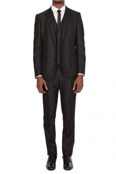 Dolce & Gabbana Three Piece Two Button Tailored Suit Black