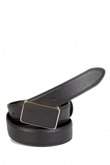 Dolce & Gabbana Tonal Buckle Leather Belt Black