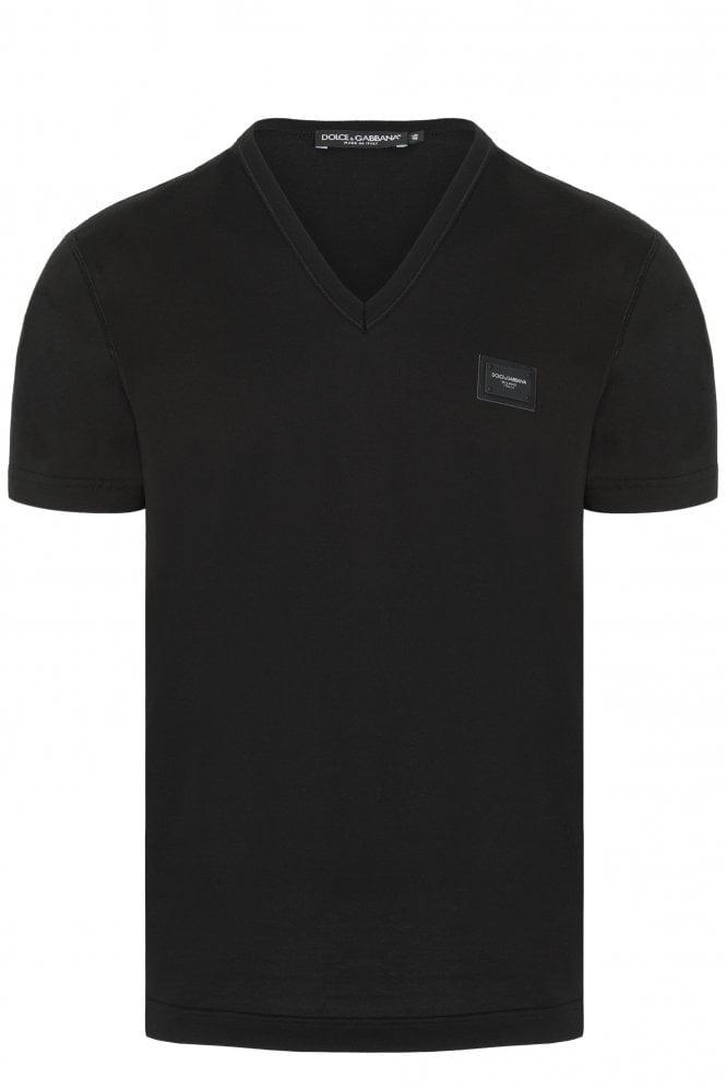 Dolce & Gabbana V-neck Plaque Logo T-shirt