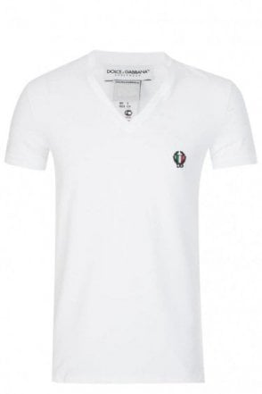Dolce & Gabbana V Neck Shield Logo T-Shirt White