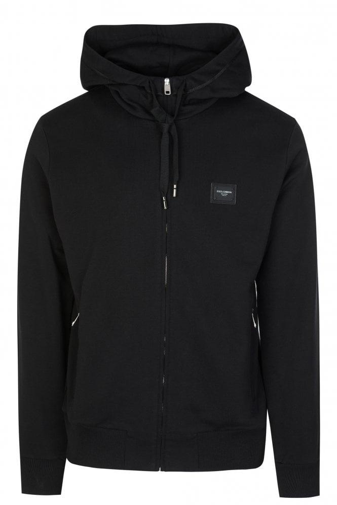 Dolce & Gabbana Zip-through Plaque Hooded Sweatshirt
