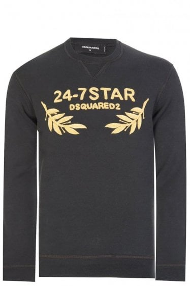 Dsquared 24-7 Star Embroidered Sweatshirt Black