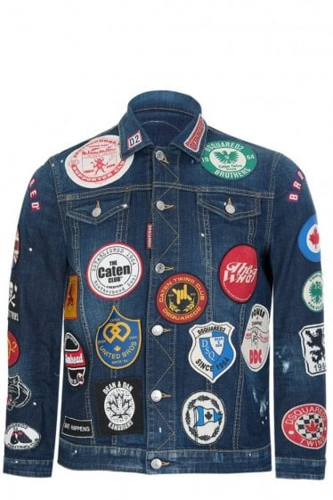 Dsquared All Over Patches Demin Jacket Blue