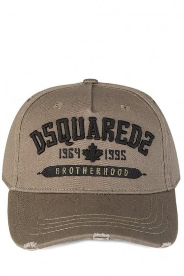 Dsquared Brotherhood Embroidered Khaki Cap