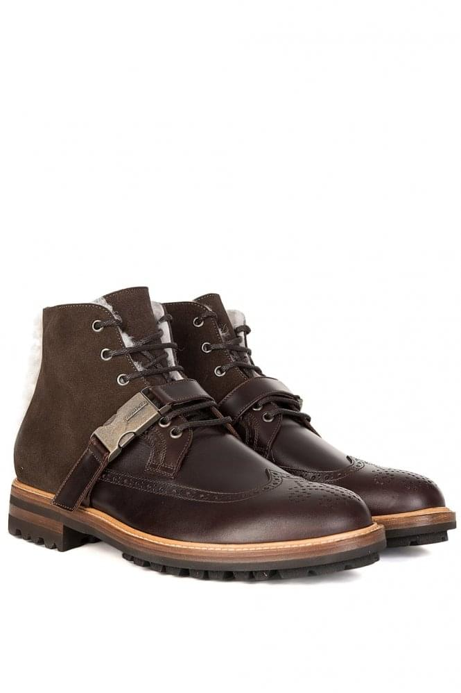 DSQUARED Brown Calf Leather and Suede Buckled Boots