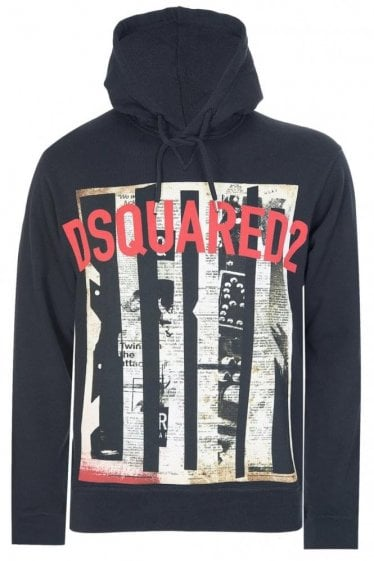 Dsquared Brushed Cotton Hooded Sweatshirt Black
