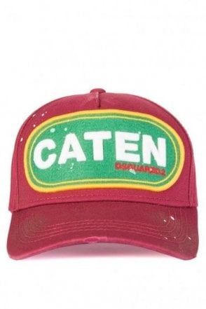 Dsquared Caten Patch Baseball Cap Burgundy