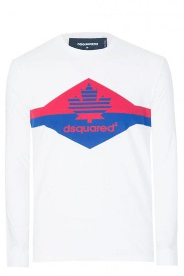Dsquared Chest Stripe Long Sleeve T-Shirt White