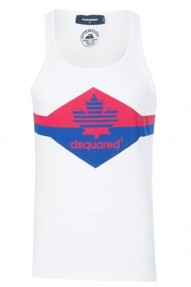 Dsquared Chest Stripe Tank Top White