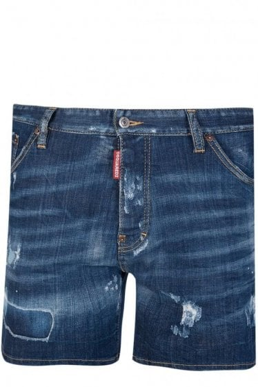 Dsquared Commando Denim Shorts Blue