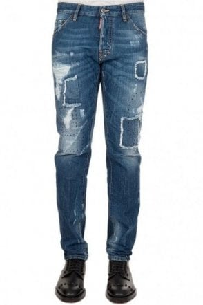 Dsquared Cool Guy Ripped Patch Logo Jeans