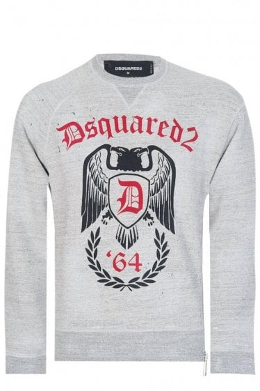 Dsquared Destroyed Cotton Zip Sweatshirt Grey