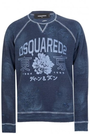 Dsquared Distressed Wash Sweatshirt Navy