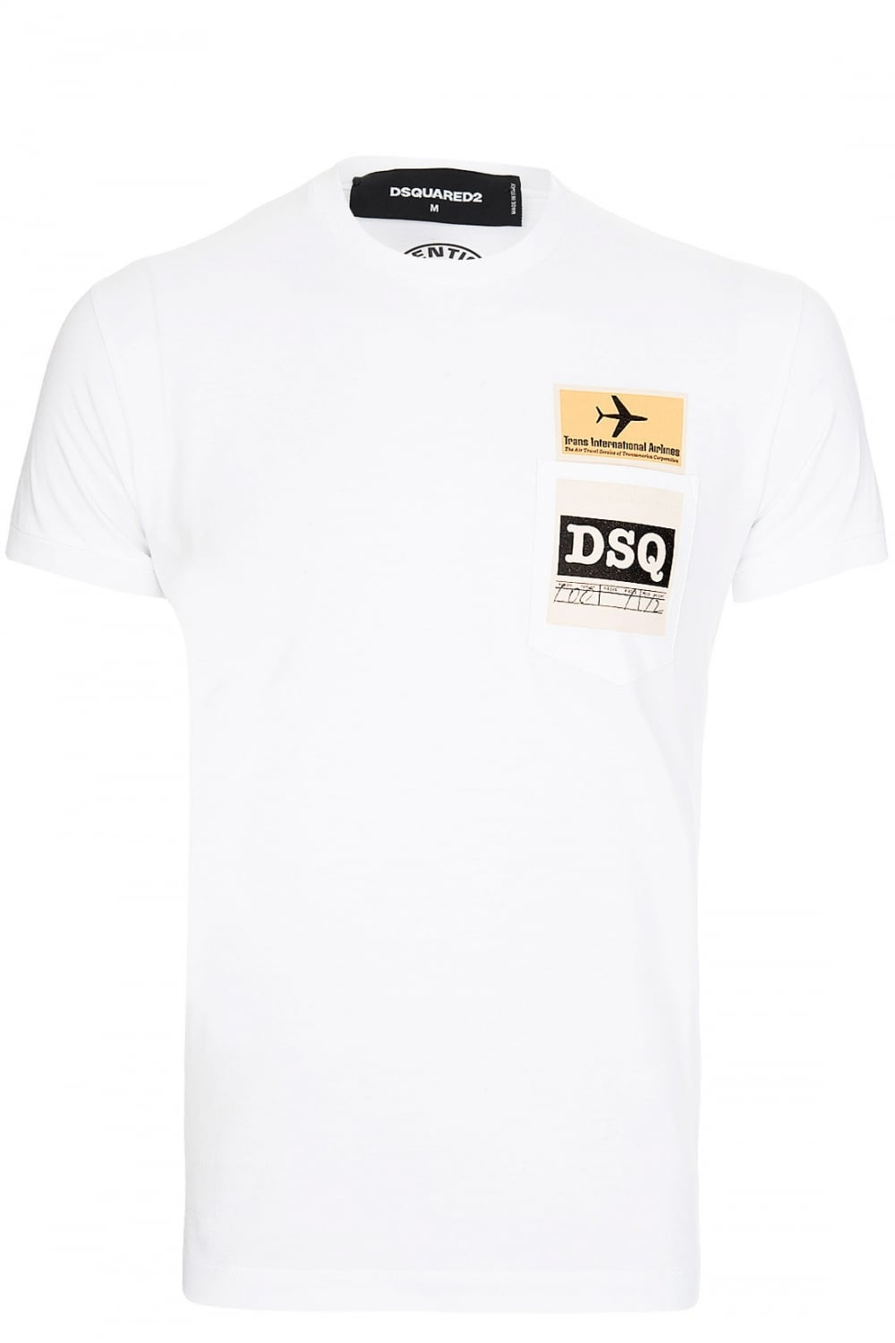 dsquared dsquared plane ticket logo t shirt white dsquared from circle fashion uk. Black Bedroom Furniture Sets. Home Design Ideas