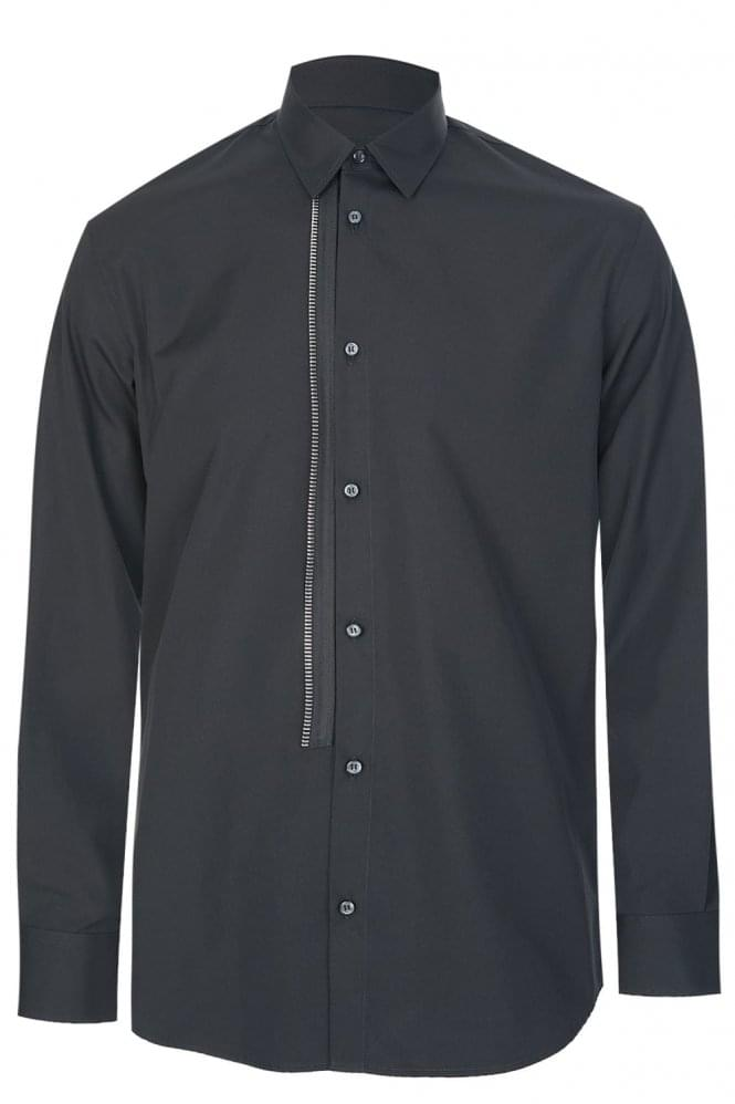 DSQUARED External Zip Placket Shirt Black