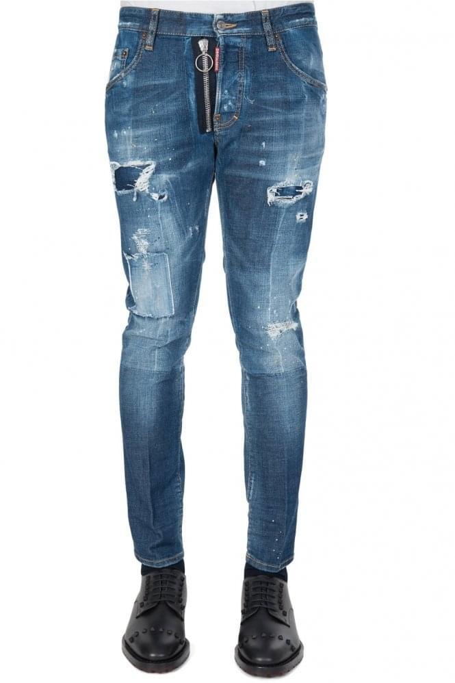Short Sleeve Dsquared External Zip Skater Jeans Blue