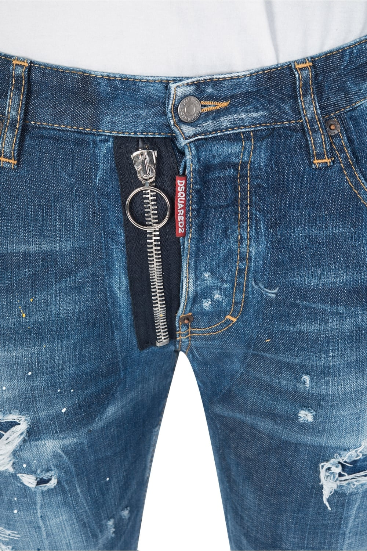 Dsquared External Zip Skater Jeans Blue