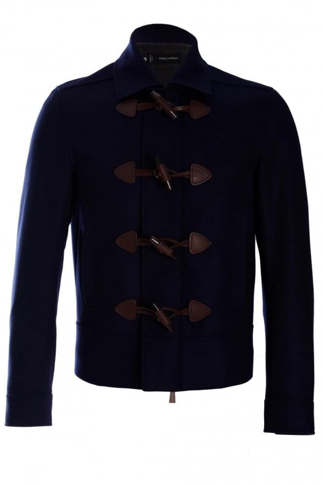 DSQUARED2 Dsquared Felt Wool Duffle Jacket Navy