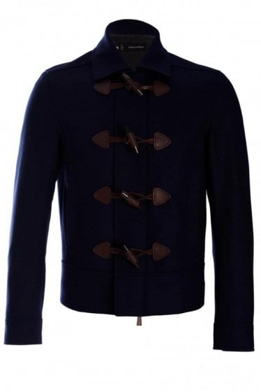 Dsquared Felt Wool Duffle Jacket Navy