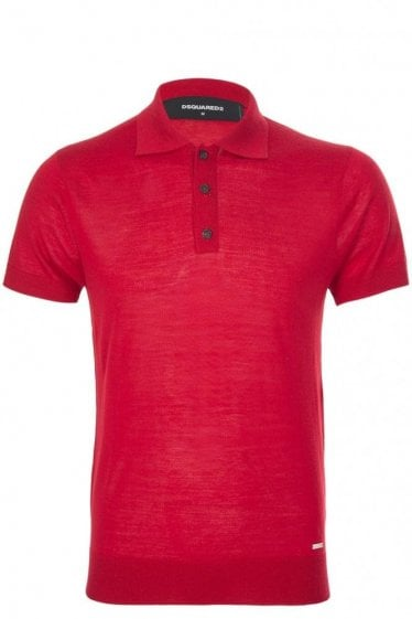 Dsquared Fine Gauge Polo Red