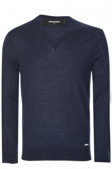 Dsquared Fine Gauge V Neck Knitted Jumper Navy