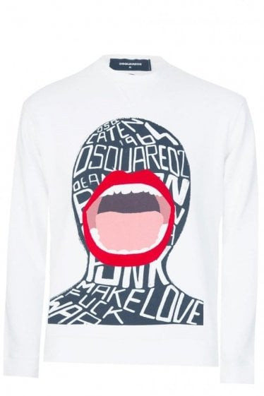 Dsquared Graffiti Face Sweatshirt White