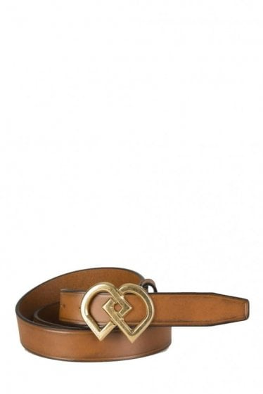 Dsquared Hearts Buckle Leather Belt Brown