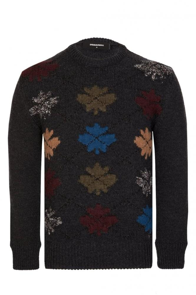 DSQUARED2 Dsquared Leaf Knitted Jumper Charcoal