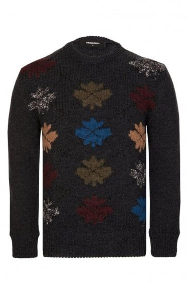 Dsquared Leaf Knitted Jumper Charcoal