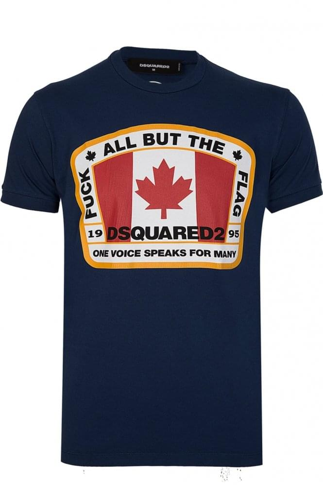 DSQUARED Maple Leaf Flag T-Shirt Navy