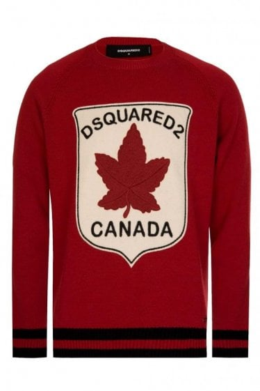 Dsquared Maple Leaf Patch Knitted Jumper Red