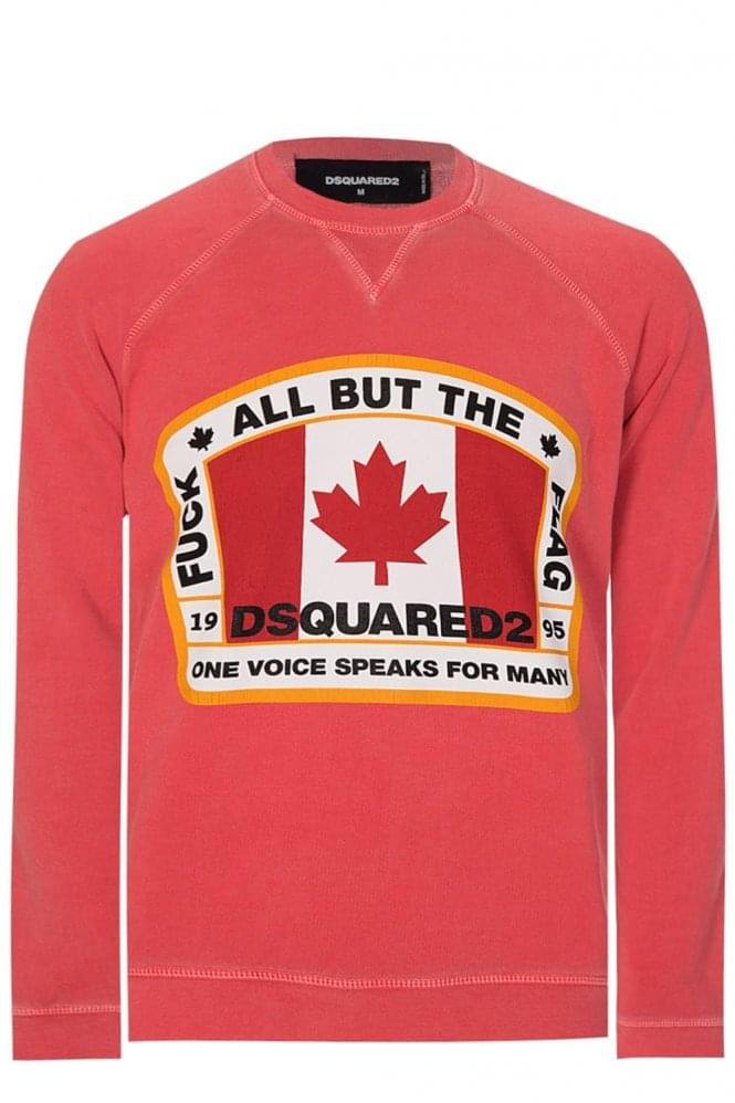 DSQUARED Maple Leaf Sweatshirt Red