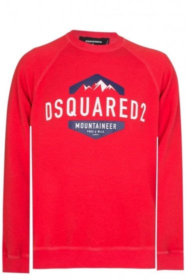 Dsquared Mountaineer Print Sweatshirt Red
