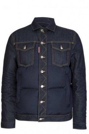 Dsquared Multi Pocket Denim/Nylon Jacket Navy